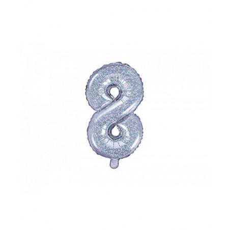 Globo Numero 8 Foil 35 cm purpurina