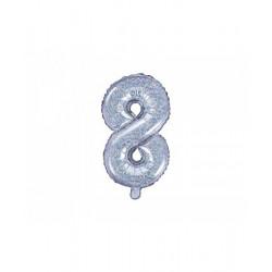 Globo numero 7 plateado glitter
