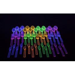 Cubiertos Neon fiesta fluorescente