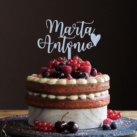 Cake topper tarta boda nombres