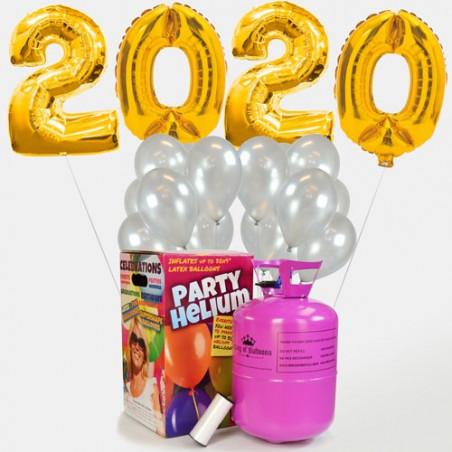 Globos fin de año 2020 oro +25 globos de látex Plata