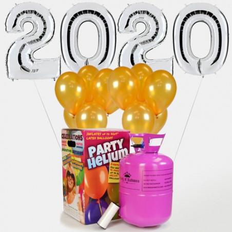 Globos fin de año 2020 plateados+25 globos de látex dorados