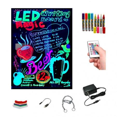 Pizarra led luminosa pub 40x60 cm + 8 rotuladores Fluorescentes