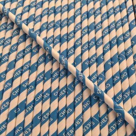 Pajitas de papel azules brindis