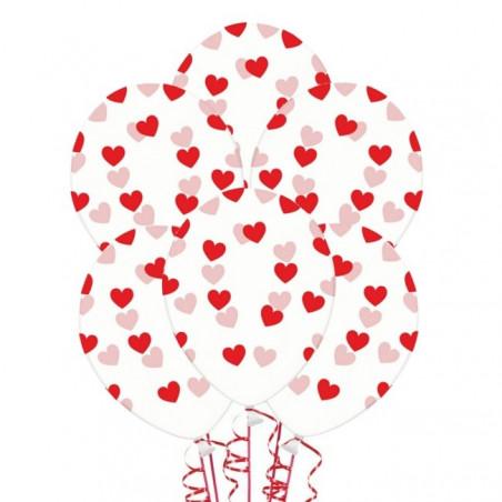 globos Transparentes con corazones rojos