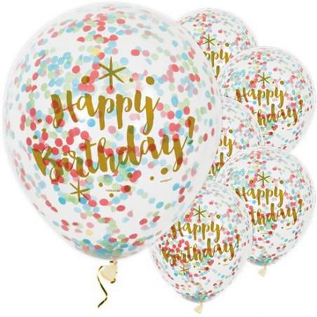 6 Globos transparentes confeti Feliz cumpleaños