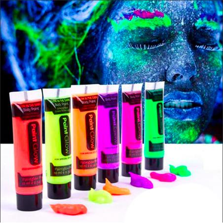 Pintura Fluorescente UV para Cuerpo y Cara