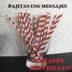 Pajitas de papel feliz cumpleaños