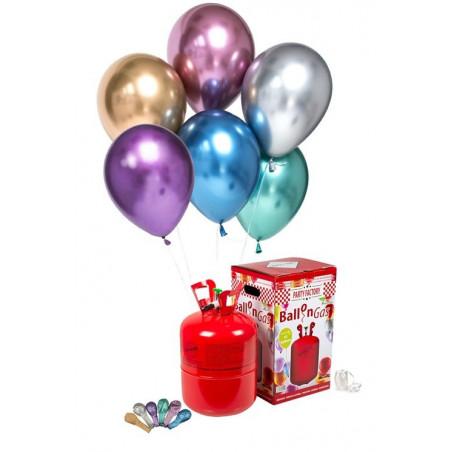 25 Globos cromados + Bombona de helio MINI