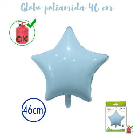 Globo poliamida estrella 46cm celeste