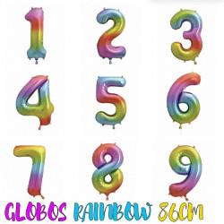 Globos helio número arcoíris 86cm