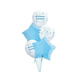 Lote globos primera comunión azul