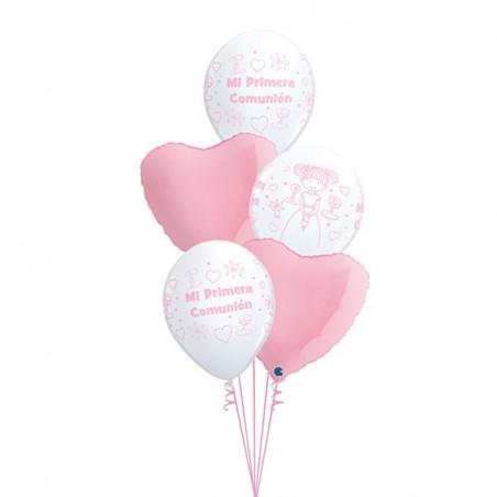 Lote globos primera comunión rosa