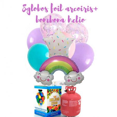Lote bombona de helio + 8 Globos arcoiris y nubes