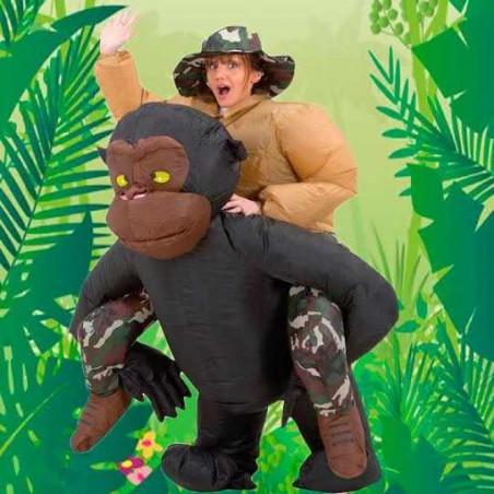 Disfraz Hinchable Explorador a hombros de Mono para adultos
