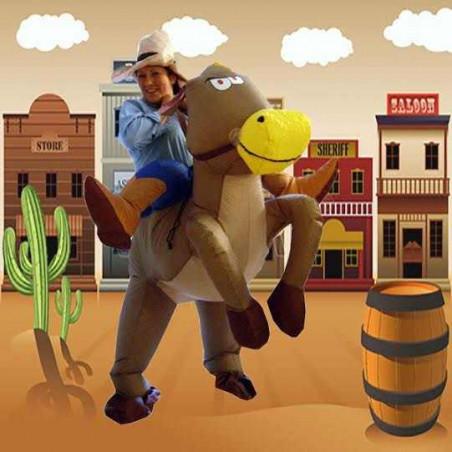 Disfraz hinchable Vaquero con caballo