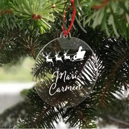 Adorno Navidad Metacrilato personalizado trineo Papa Noel