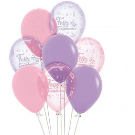 Globos cumpleaños rosas