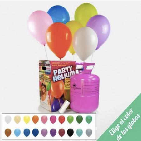 Pack 50 globos multicolor + bombona helio maxi