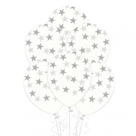 globos Transparentes con estrellas plateada
