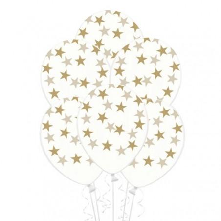 globos Transparentes con estrellas doradas