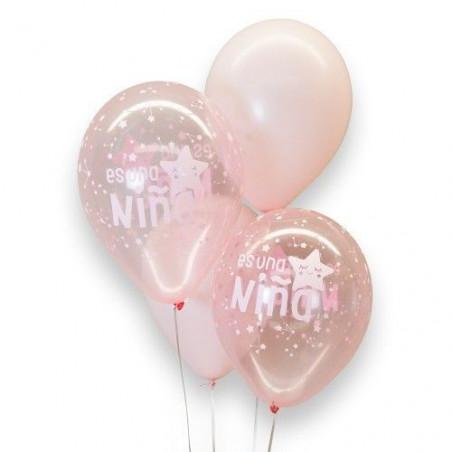 """kit 8 globos  """"Es un niña"""""""