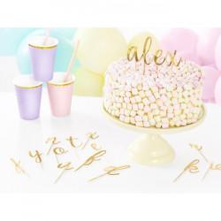 Topper para tarta con abecedario dorado - 53 unidades