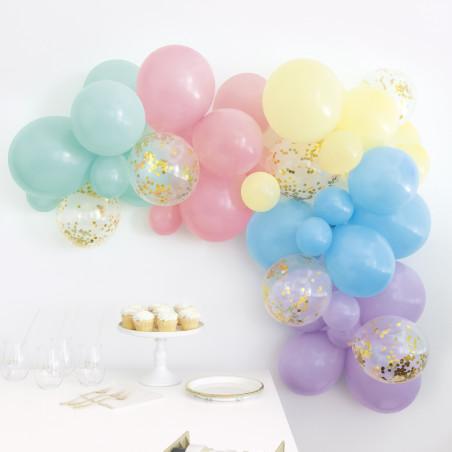 Kit arco globos pastel, surtido 40 piezas