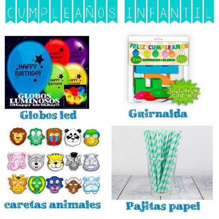 pack cumpleaños infantil 40 productos