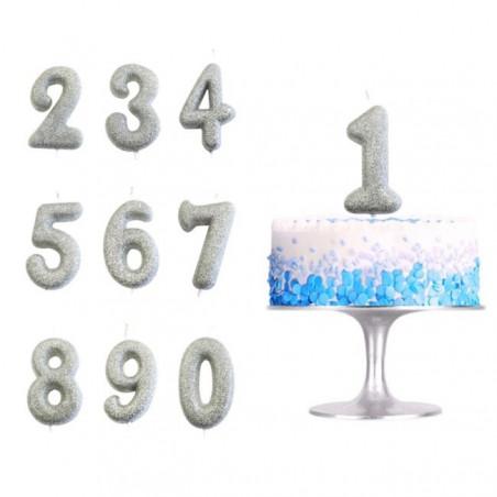 Velas número plateada con purpurina del 0-9
