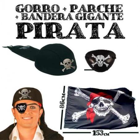 Gorro, parche y bandera pirata