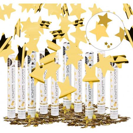 Pack 10 Cañones Confeti estrellas doradas