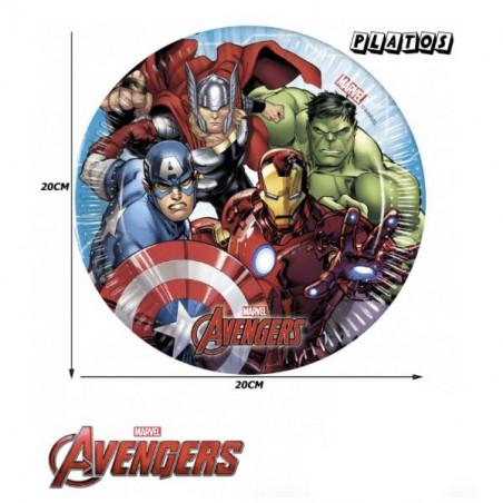 6 Platos de Papel los Vengadores Marvel 20cm