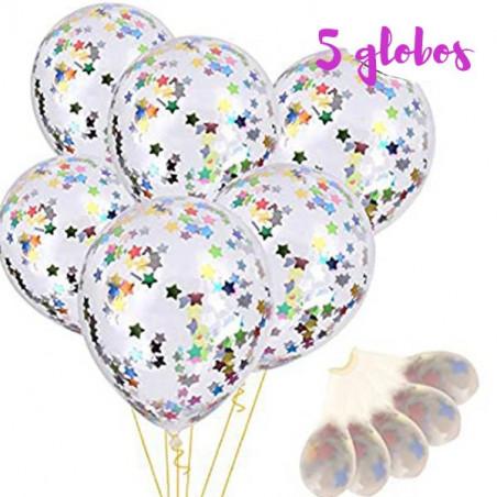 Pack de 5 globos con confeti estrellas