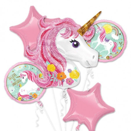 set de globos unicornio