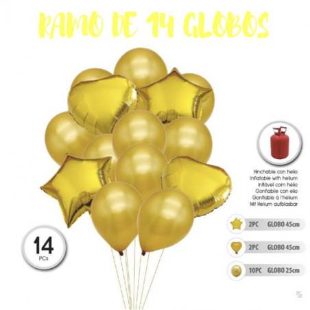 Ramo de 14 globos dorados