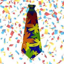 12 corbatas flower power plástico (uv)