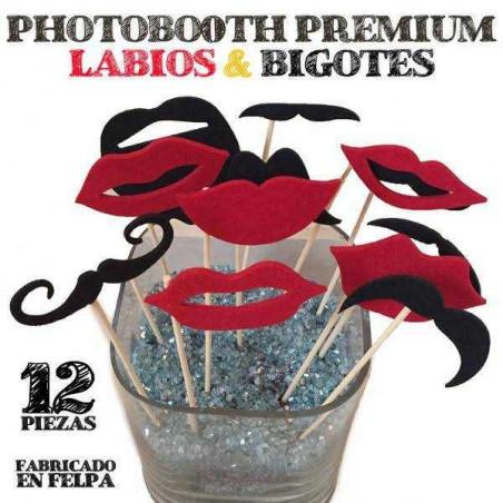 Accesorios photocall labios y bigotes felpa premium