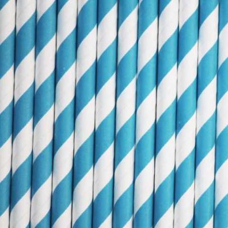 Pajitas de papel con rayas azul