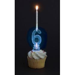 vela led tarta cumpleaños numero 6