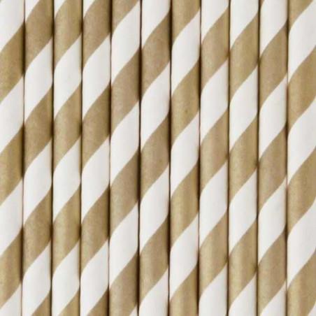 Pack de 25 pajitas de papel rayas doradas