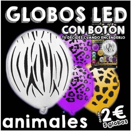 Globos luminosos LED estampado animales on/off