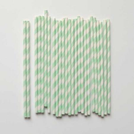 Pack de 25 pajitas de papel rayas menta