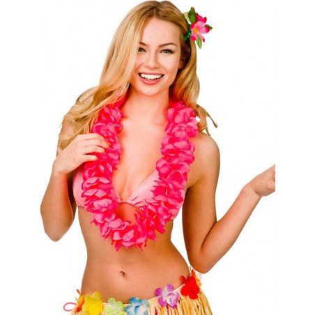 Collar Hawaiano rosas